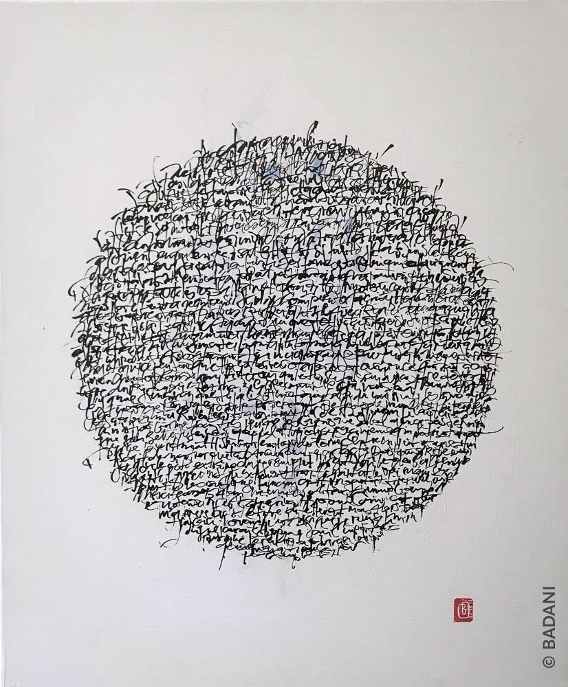 T181101. Peinture abstraite, acrylique sur toile. Christophe Badani, peintre calligraphe.