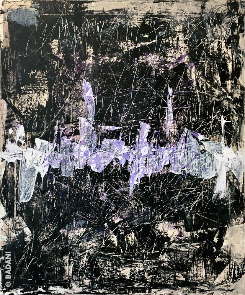 T200706. Peinture abstraite, acrylique sur toile. Christophe Badani, peintre calligraphe.