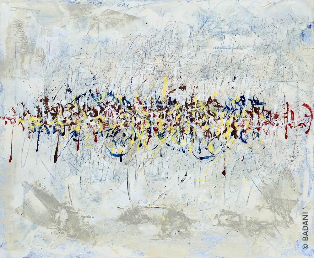 T200725. Peinture abstraite, acrylique sur toile. Christophe Badani, peintre calligraphe.