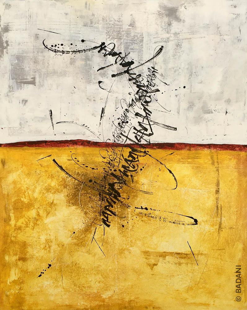T200811. Peinture abstraite, acrylique sur toile. Christophe Badani, peintre calligraphe.