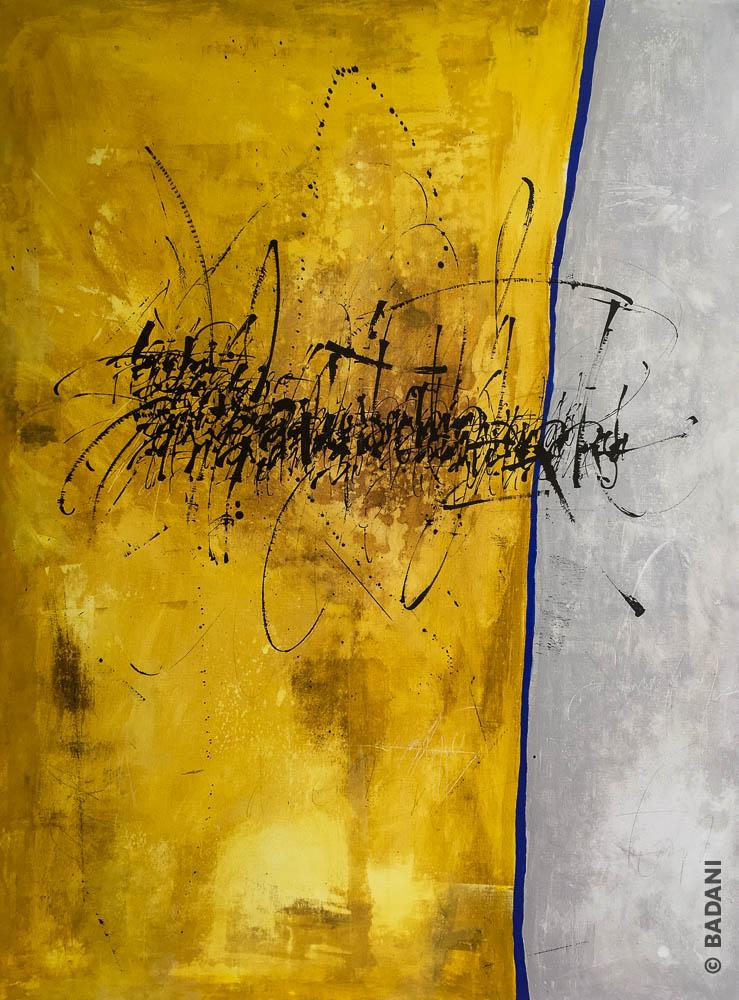 T200813. Peinture abstraite, acrylique sur toile. Christophe Badani, peintre calligraphe.