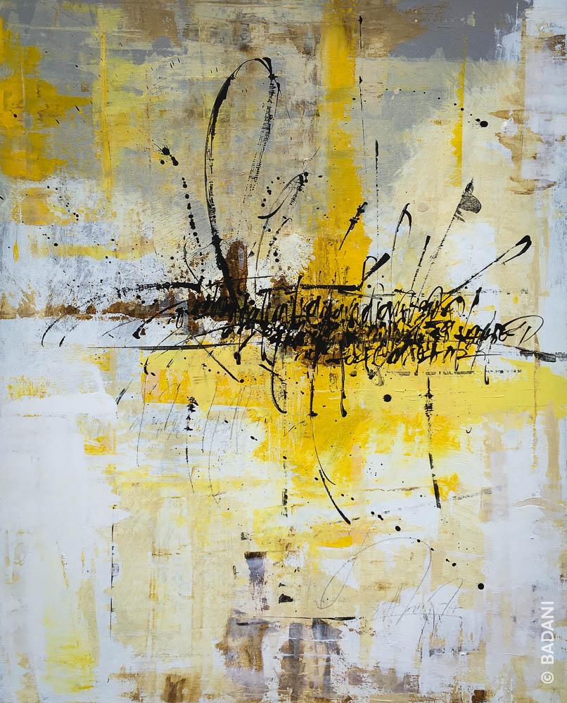 T200814. Peinture abstraite, acrylique sur toile. Christophe Badani, peintre calligraphe.
