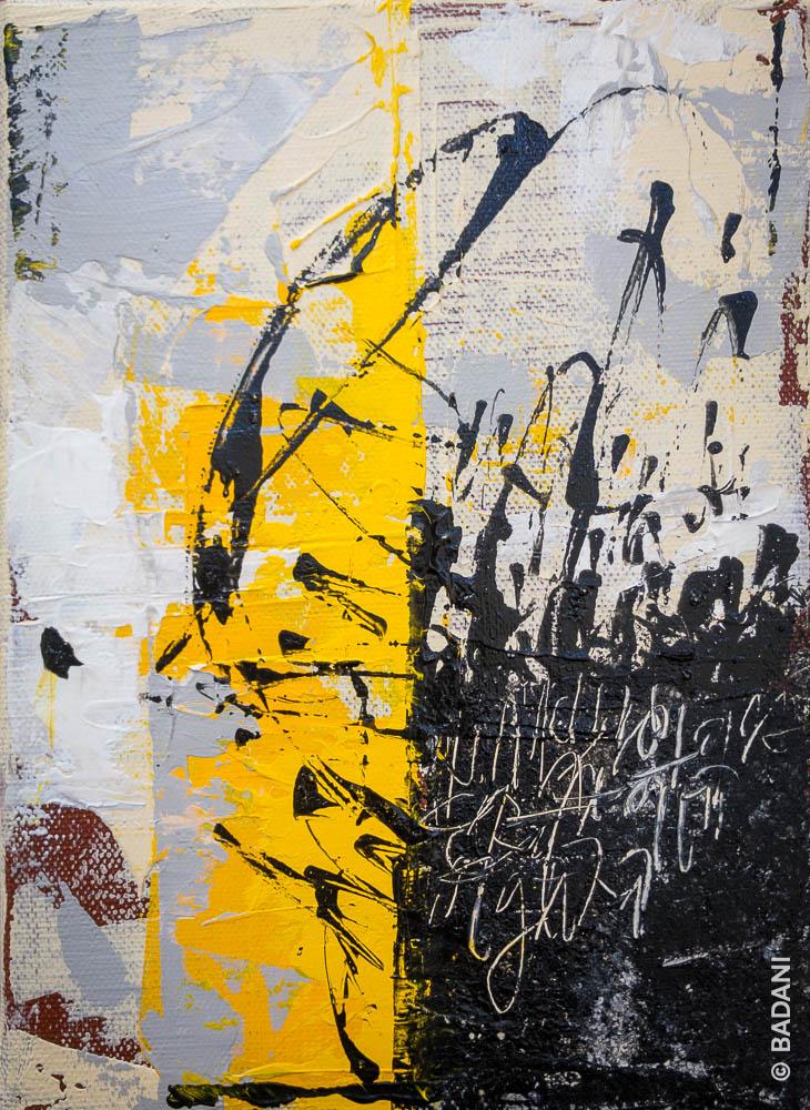 T200826A. Peinture abstraite, acrylique sur toile. Christophe Badani, peintre calligraphe.