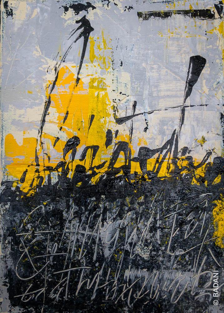 T200826B. Peinture abstraite, acrylique sur toile. Christophe Badani, peintre calligraphe.
