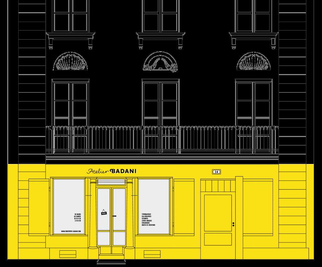Dessin Facade Atelier immeuble vect